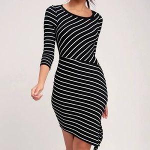 Lulu's Black and White Striped Dress NWT
